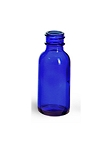 BOSTON ROUND GLASS BOTTLE BLUE 2 OZ