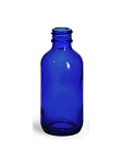 BOSTON ROUND GLASS BOTTLE BLUE 4 OZ