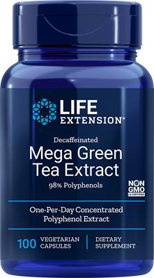 DECAFFEINATED MEGA GREEN TEA EXTRACT (98% POLYPHENOLS) - 100 Vegetarian Capsules