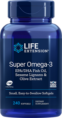 SUPER OMEGA-3 EPA/DHA WITH FISH OIL, SESAME LIGNANS & OLIVE EXTRACT - 240 Easy-to-Swallow Softgels