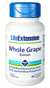WHOLE GRAPE EXTRACT(Standardized Resveratrol, Grape Seed, and Red Wine Polyphenols)-60 vegetarian capsules - DISCONTINUED