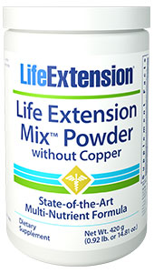LIFE EXTENSION MIX™ POWDER WITHOUT COPPER - 420 g (0.92 lb. or 14.81 oz.) - DISCONTINUED