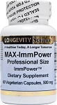 MAX-IMMPOWER PROFESSIONAL SIZE 60 VEGETABLE CAPSULES BY LONGEVITY SCIENCE 500MG EACH
