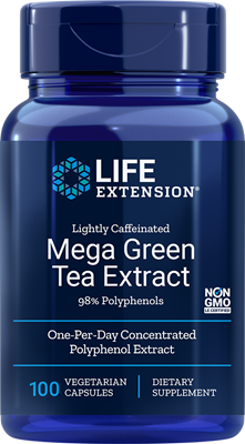 LIGHTLY CAFFEINATED MEGA GREEN TEA EXTRACT (98% POLYPHENOLS) - 100 Vegetarian Capsules