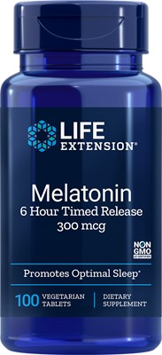 MELATONIN 6 HOUR TIMED RELEASE (300 mcg) - 100 Vegetarian Tablets