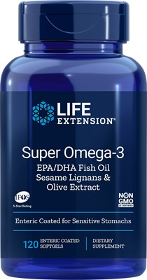 SUPER OMEGA-3 EPA/DHA WITH FISH OIL, SESAME LIGNANS & OLIVE EXTRACT - 120 Enteric Coated Softgels