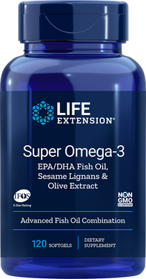 SUPER OMEGA-3 EPA/DHA WITH FISH OIL, SESAME LIGNANS & OLIVE EXTRACT - 120 softgels